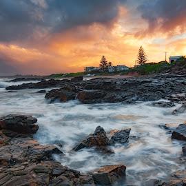 WIld fire by Nicole Rix - Landscapes Sunsets & Sunrises ( sunset, cloudsscape, outdoor, clouds and sea, trees, beach, seascape, landscape, rocks )