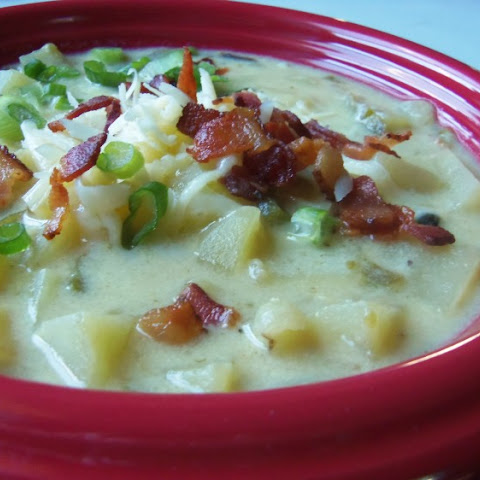 Cheddar Potato Soup With Roasted Poblanos and Bacon
