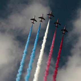 Red Arrows by Andro Andrejevic - Transportation Airplanes ( red arrows, display team, moody sky, display, red white blue smoke )
