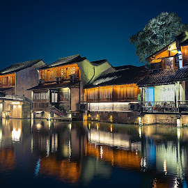 JiangNan Water Village by Crispin Lee - Buildings & Architecture Homes ( colour, outdoor, street, travel, light, china )