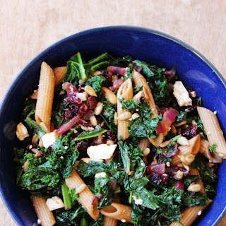 Kale and Dried Cranberry Pasta Salad with Balsamic and Feta