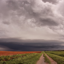 Beautiful cloud in an open field by Jc R-Photography - Landscapes Weather ( field, clouds, oklahoma, weather, storm chasing, storms, landscape, rain )