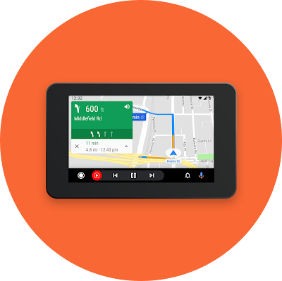 Car dashboard navigating with Android Auto