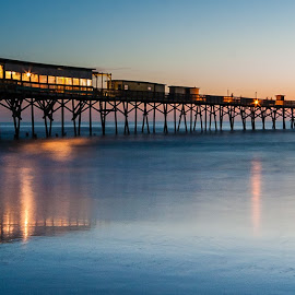 Long Pier in Flordia by Carl Albro - Buildings & Architecture Bridges & Suspended Structures ( water, dawn, pier, long exposure )