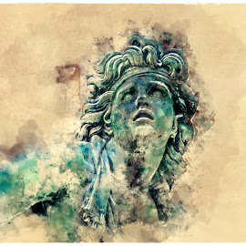 Louvre by Alessandro Calzolaro - Illustration Products & Objects ( watercolor, statue, louvre, art, head, manipulation, retouch )