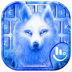 Blue Fire Flaming Ice Wolf Keyboard Theme