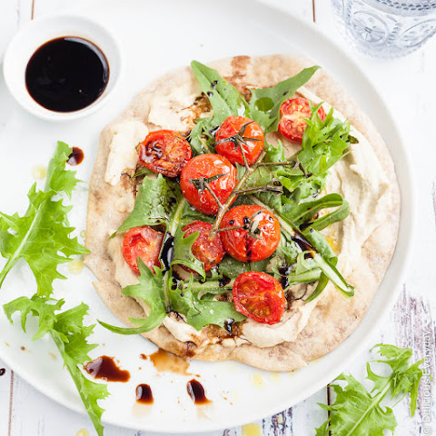 Flatbread Pizza Recipe With Hummus, Cherry Tomato And Dandelion Greens