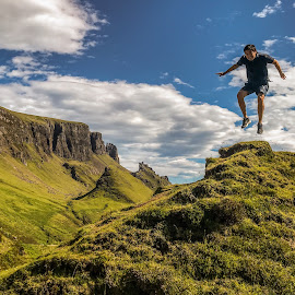 Jumping for joy on the Isle of Skye !  by Gordon Bain - Landscapes Mountains & Hills ( skye, blue sky, beautiful., summer, quiraing )