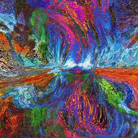 flower by Edward Gold - Digital Art Abstract ( orange, red, green, light blue, purple, abstruct, darkblue,  )