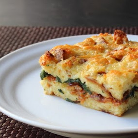 Bacon Cheddar and Spinach Strata – We're Rocking the Breakfast Casserole
