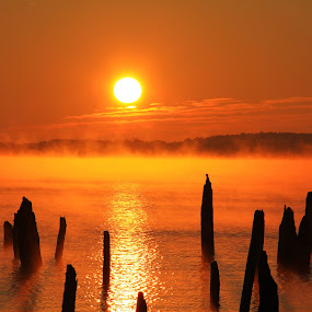 6:59 am 10/1/12 by Roger Becker - Landscapes Sunsets & Sunrises ( water, nature, sunset, sunrise, landscape )
