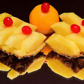 Pineapple,cherry and tangerine. by Andrew Piekut - Food & Drink Fruits & Vegetables