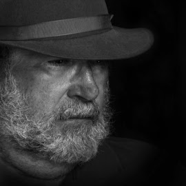 The Man by ANN CASON - People Portraits of Men ( low key, black and white, men, people, portrait )