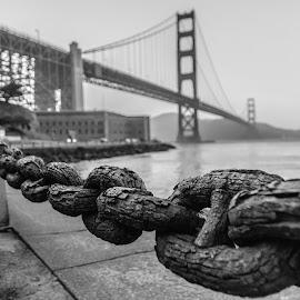 City under arrest! by Jignashu Parikh - Black & White Buildings & Architecture ( golden gate bridge, waterscape, cityscape, bridge, bay area, bridges, landscapes, san francisco, city )