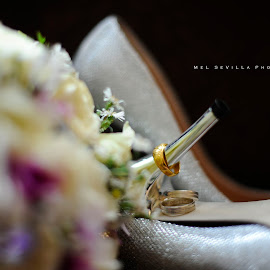 The Ring by Mel Sevilla Photographia - Wedding Details ( shoes, bouquet, ring, silver, gold, nikon )