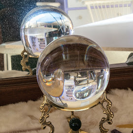 Crystal Ball Reflection by Julie Wooden - Artistic Objects Glass ( mirror, reflection, north dakota, crystal ball, hebron, still life, indoors )