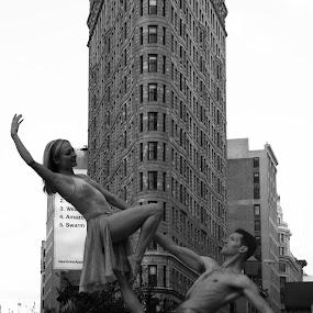 Flatiron Ballet by VAM Photography - City,  Street & Park  Street Scenes ( b&w, street, flatiron building, candid, nyc, architecture, street photography,  )