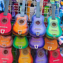 Colorful Guitars by Gayle McMahan-Vuletic - Artistic Objects Musical Instruments ( colorful guitars, guitars, sant antonio market,  )