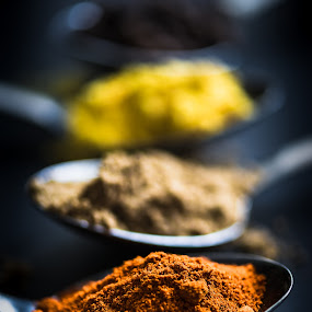 Spice! by Juha Kauppila - Food & Drink Ingredients ( red, hot, spoon, yellow, spices )