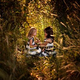 Our Secret Spot by Nicole Ferris - Babies & Children Children Candids ( love, hiding, siblings, warm, outdoors, grass, sisters, girls, family )