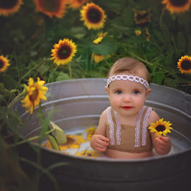 Lily in a Sunflower Patch by Beth Ann - Babies & Children Babies ( baby, girl, sunflowers, metal tub, milk bath )