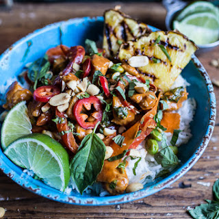 30 Minute Sweet Thai Chili Peanut Chicken and Grilled Pineapple Stir Fry.