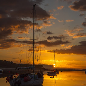At anchor by Gordon Bain - Landscapes Sunsets & Sunrises ( calm, sunset, yacht, golden )