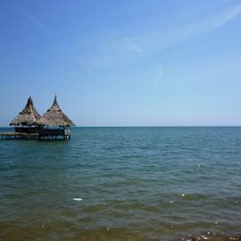 gazebo on the pungkruk beach by Rahmat Nugroho - Artistic Objects Furniture ( cool, tropical, sea, ocean, seascape, beach, landscape, asian, sky, gazebos, huts, blue, indonesia, jepara, hot, java, rest, day, central, salt,  )