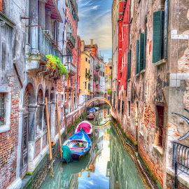 Venice Colors by Peter Kennett - Digital Art Places ( reflection, venice, paint, boat, canal, digital, italy )