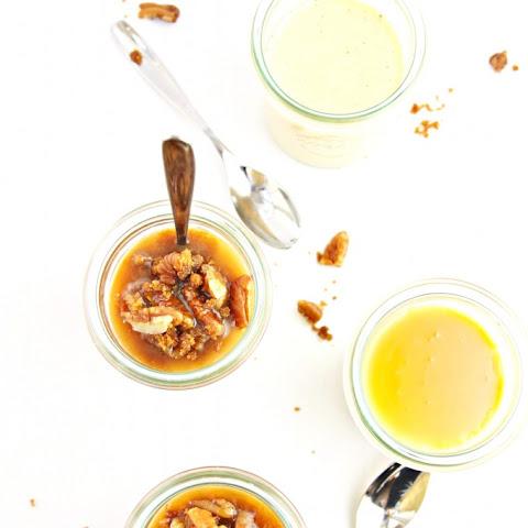 Pumpkin Pots de Creme with Salted Caramel Sauce and Pecans