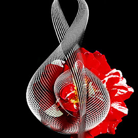VIOLIN KEY by Carmen Velcic - Digital Art Abstract ( abstract, red, violin, roses, flowers, digital, key )