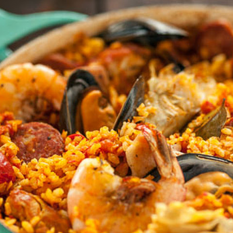 Spanish Paella with Chorizo, Chicken and Shrimp