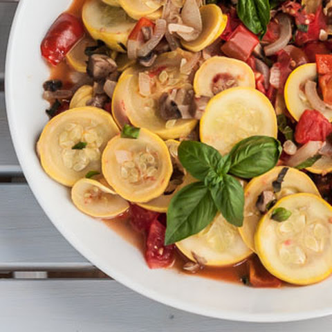 Sauteed Zucchini with Tomatoes, Mushrooms, Peppers, and Basil