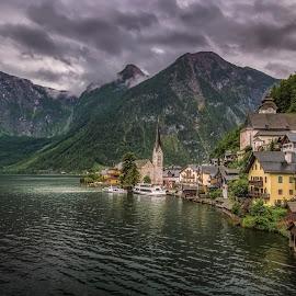Hallstatt by Ole Steffensen - City,  Street & Park  Vistas ( mountains, salzburg, vista, lake, hallstatt, salzkammergut, austria,  )