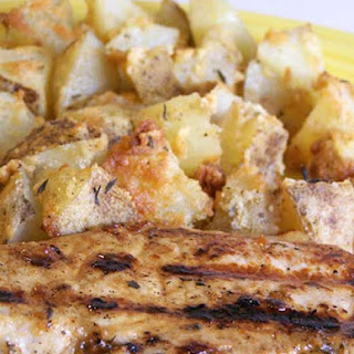 Grilled Lemon Herb Pork Chops with Parmesan Roasted Potatoes