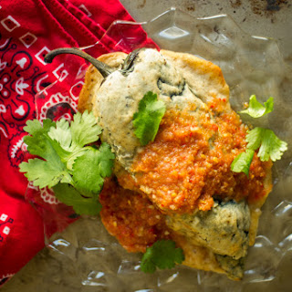 Baked Chile Relleno with Fresh Tomato Sauce and Bean-Potato Filling
