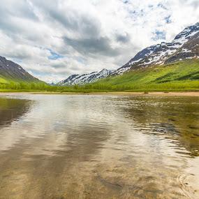 Sørfjorden river by Benny Høynes - Landscapes Mountains & Hills ( clouds, mountains, skies, norway, river )