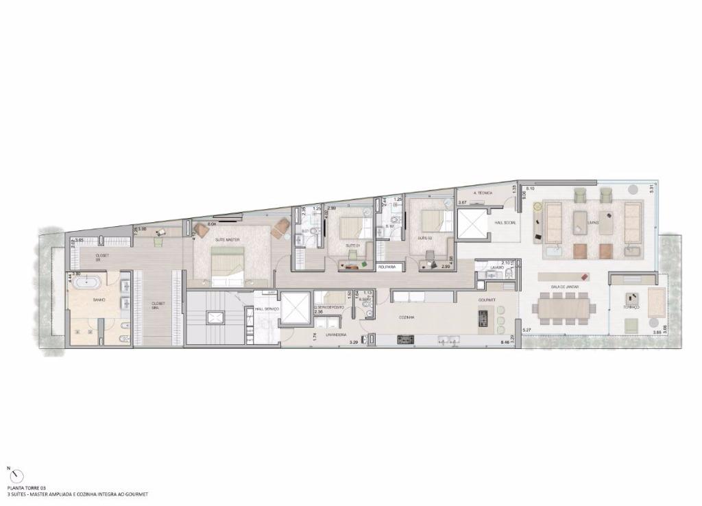 Planta Opção - 3 Suítes Máster Ampliado e Cozinha integrada ao Gourmet - 315 m²