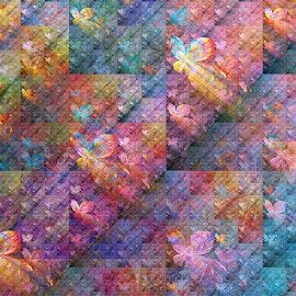 Fractal Flight of Butterflies by Peggi Wolfe - Illustration Abstract & Patterns ( abstract, wolfepaw, flight, butterfly, bright, color, fun, fractal, digital )