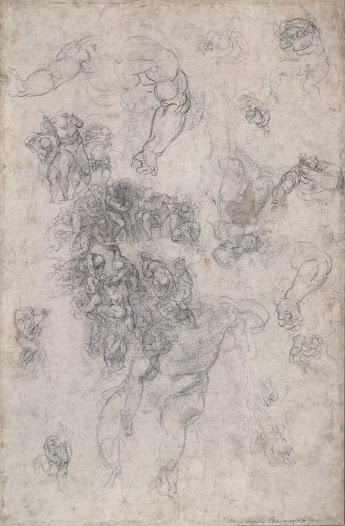 This sketch by <b>Michelangelo</b> is a study for his <b>'Last Judgement'</b> (1635-41) on the wall of the Sistine Chapel in the Vatican, Rome. He brainstorms configurations of bodies in defiance of gravity, zooming in to focus on a single figure, and then out again to take in the whole group.