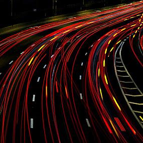 Highway in the night by Yuval Shlomo - City,  Street & Park  Street Scenes ( #jipchallenge #paisley #photography,  )
