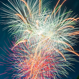 Bringing in 2015 by Sharon Wills - Abstract Fire & Fireworks ( colour, 2014, fireworks, night, new years eve, fire works, light,  )