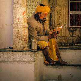 Reading by Karin Wollina - People Portraits of Men ( reading, jaipur, #man, india, portrait,  )