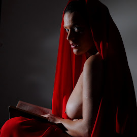 Attention Stolen by DJ Cockburn - Nudes & Boudoir Artistic Nude ( red, sitting, home shoot, cape )