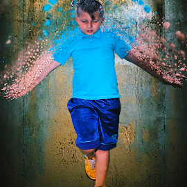 Kid Water Scatter by Andrew Gunn - Abstract Water Drops & Splashes ( abstract, kids, portraits, people, photoshop )