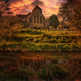 Reflected In The Stour by Dave Godden - Buildings & Architecture Places of Worship ( clouds, reflection, textured, texture, set, sunset, godmersham church, godmersham, stour, sun, river )
