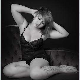 by Shaun Healey - Nudes & Boudoir Boudoir ( model, lingerie, black and white, boudoir, posing )