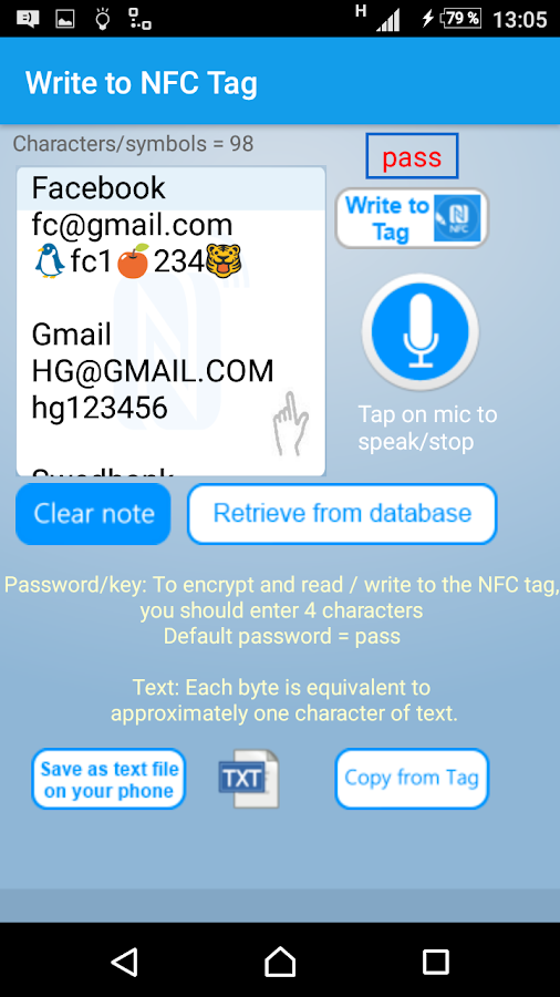 NFC Tools - myPasswordNFC Screenshot 5