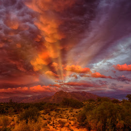 Storm Rays by Charlie Alolkoy - Landscapes Weather ( mountain, desert, arizona, tucson, storm, rays )