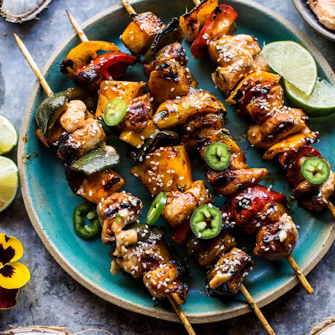 Hawaiian BBQ Skewers with Sriracha Honey Butter.